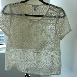 Tops - Joie Geometric cotton lace top with silk back